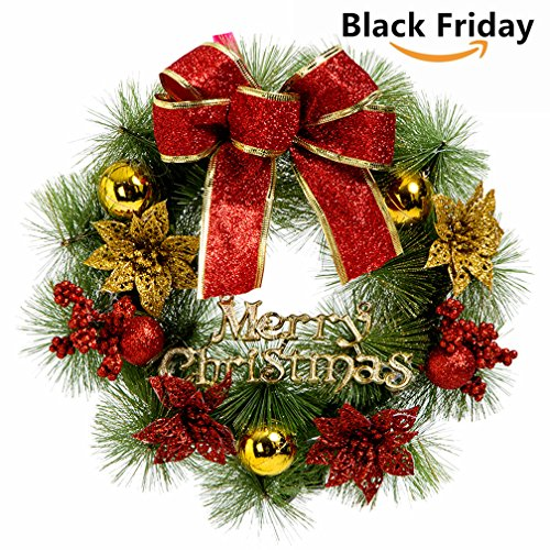 small christmas wreath for front door wall windows artificial poinsettia xmas decoration 79 inch